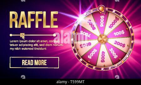 Internet Raffle Roulette Fortune Banner Vector - Stock Photo