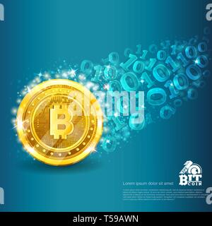 Golden bitcoin with trail from binary code on blue. Abstract vector glossy business background - Stock Photo