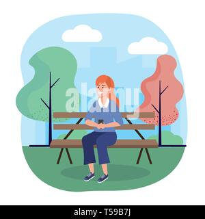 woman seating in the chair with smartphone technology vector illustration - Stock Photo