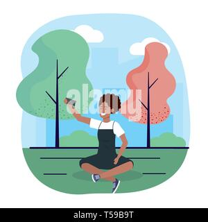 woman with smartphone trechnology and seating with trees vector illustration - Stock Photo