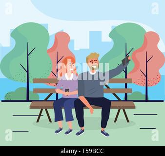 woman and man seating in the chair with smartphone vector illustration - Stock Photo