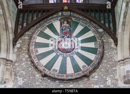 King Arthur's Round Table at The Great Hall, Winchester, Hampshire, UK - Stock Photo