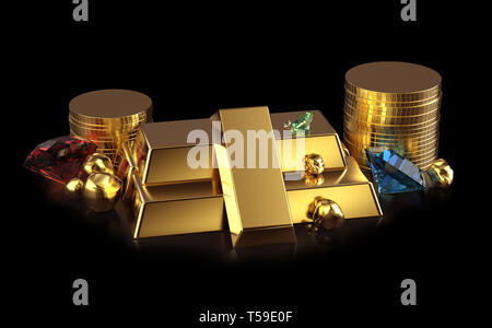Golden bars and coins with ruby, sapphire and diamond gems and gold nuggets isolated on black background with reflection
