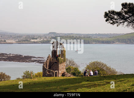 Folly Mount Edgcumbe Park Cornwall 2019 Easter. - Stock Photo