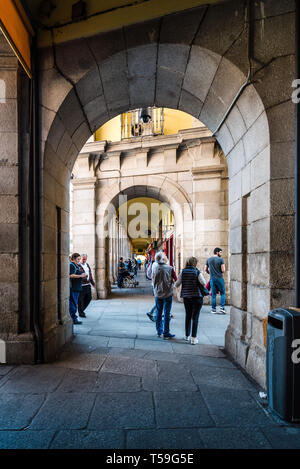 Madrid, Spain - April 14, 2019: Scenic view of Plaza Mayor of Madrid. It is a landmark in historic center of the city. - Stock Photo