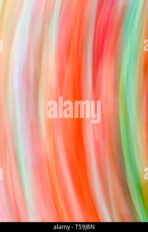 An abstract renditions of tulip flowers in a field, obtained by panning the camera fast across the field - Stock Photo