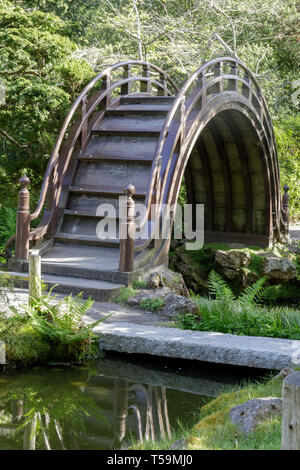 The Arched Drum Bridge in the Japanese Tea Garden in Golden Gate Park - Stock Photo