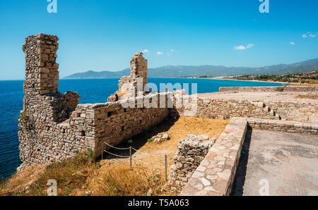 View on Potokaki beach from Castle of Lykourgos Logothetis in Samos Island - Stock Photo