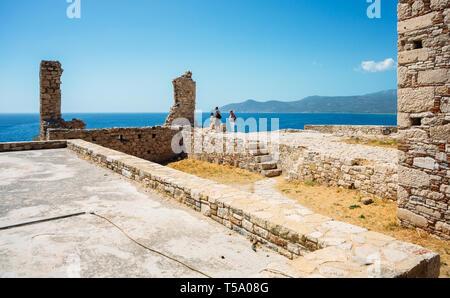 Samos island, Greece - September 13, 2017: View on Potokaki beach from Castle of Lykourgos Logothetis in Samos Island - Stock Photo
