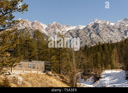 FAIRMONT HOT SPRINGS, CANADA - MARCH 18, 2019: spring time in resort situated in rocky mountains british columbia - Stock Photo