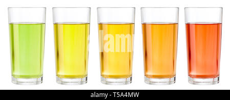 set of various juice in glasses isolated on white - Stock Photo