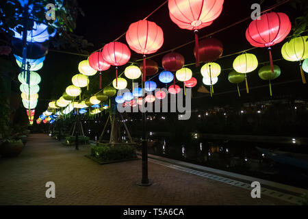 Beautiful international lantern illuminating in night time, - Stock Photo