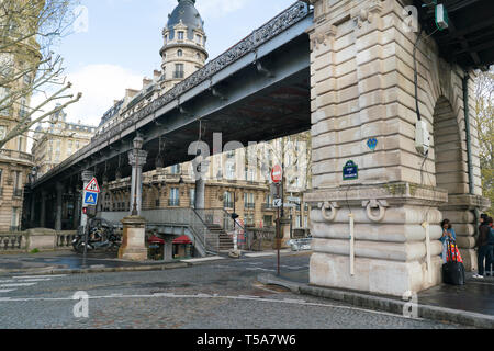 View of Eiffel tower and Bir Hakeim bridge in Paris, France - Stock Photo