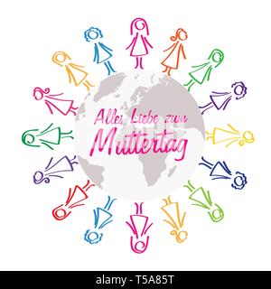 Happy Mothers Day german lettering women around the world colorful design vector illustration EPS10 - Stock Photo