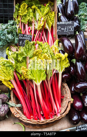 Fresh vegetables for sale in Borough Market in London. - Stock Photo