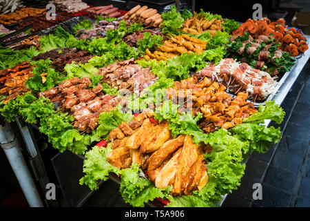 SAPA, VIETNAM: Barbecue meat - The several animal meat ingredient of famous Vietnamese food. Raw material for roasting on the grill. Vietnamese cuisin - Stock Photo