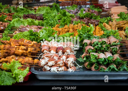 SAPA, VIETNAM: Barbecue meat - The several animal meat ingredient of famous Vietnamese food the barbecue resturant in Sapa district Vietnam - Stock Photo