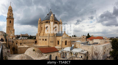 Panoramic View of King David's Tomb in the Old City during a cloudy day. Taken in Jerusalem, Israel. - Stock Photo