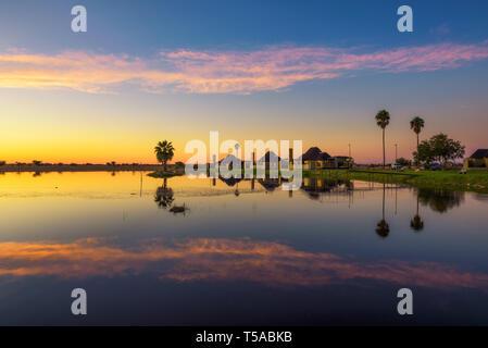 Sunrise above Lapa Lange Game Lodge near Mariental in Namibia - Stock Photo