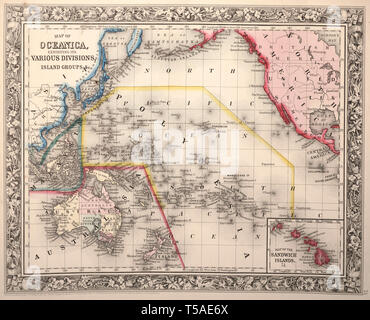 Beautiful vintage hand drawn map illustrations of Oceania from old book. Can be used as poster or decorative element for interior design. - Stock Photo
