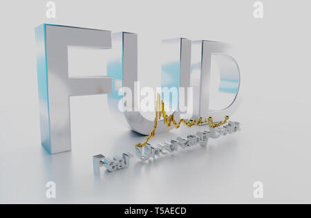 FUD is an acronym for fear, uncertainty and doubt. It is a marketing term that isoften used to cast a shadow over a competitor's product - Stock Photo
