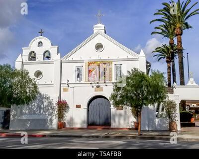 Our Lady of the Angels historic church in old Los Angeles, California - La Iglesia de Nuestra Señora la Reina de los Ángeles - exterior in sunshine. - Stock Photo