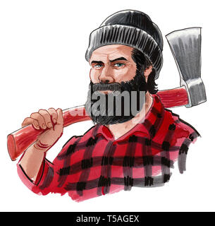 Strong Canadian logger with ax. Ink and watercolor illustration - Stock Photo