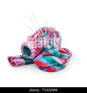 Knit socks, knitting needle and wool ball isolated on white background clipping path included. Needlework at home concept - Stock Photo