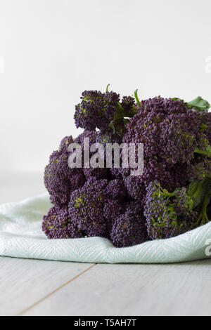 Purple sprouting broccoli bunch on a green tea towel with a grey wood background - Stock Photo