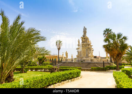 Parliament square near Palace of the Normans in Palermo, Italy - Stock Photo