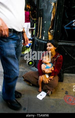 Gipsy Beggar, Barcelona, Catalonia, Spain - Stock Photo