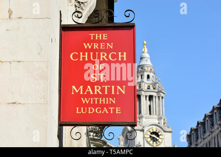 London, England, UK. The Wren Church of St Martin within Ludgate (Fleet Street) sign with St Paul's Cathedral in the background. - Stock Photo