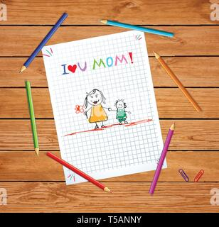 I Love You Mom. Baby Colorful Hand Drawn Illustration of Mother Hold Hands with Son on Checkered Notebook Sheet or Graphing Paper on Wooden Tabel with - Stock Photo