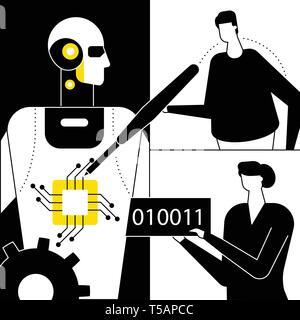 Artificial intelligence - flat design style vector illustration - Stock Photo