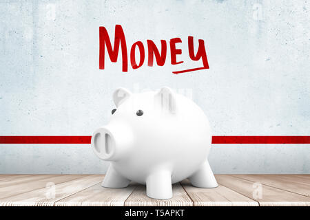 3d rendering of white piggy bank on white wooden floor with red MONEY sign above and red line on white wall background - Stock Photo