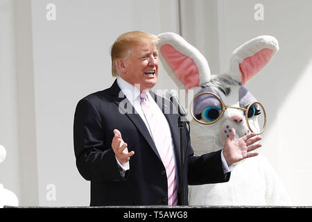 Washington, USA. 22nd Apr, 2019. U.S. President Donald Trump attends the annual Easter Egg Roll at the White House in Washington, DC, the United States, on April 22, 2019. White House Easter Egg Roll was held on the South Lawn on Monday as the annual tradition entered its 141st year. Credit: Ting Shen/Xinhua/Alamy Live News - Stock Photo