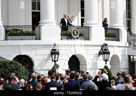 Washington, USA. 22nd Apr, 2019. U.S. President Donald Trump (rear C) attends the annual Easter Egg Roll at the White House in Washington, DC, the United States, on April 22, 2019. White House Easter Egg Roll was held on the South Lawn on Monday as the annual tradition entered its 141st year. Credit: Ting Shen/Xinhua/Alamy Live News - Stock Photo