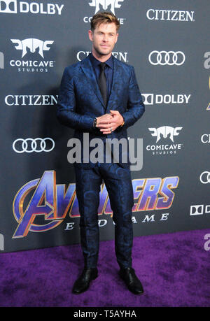 Los Angeles, California, USA 22nd April 2019  Actor Chris Hemsworth attends the World Premiere of Marvel Studios' 'Avengers: Endgame' on April 22, 2019 at Los Angeles Convention Center in Los Angeles, California, USA. Photo by Barry King/Alamy Stock Photo - Stock Photo