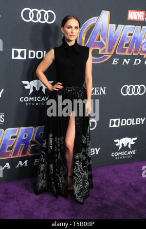 Los Angeles, California, USA 22nd April 2019  Actress Natalie Portman attends the World Premiere of Marvel Studios' 'Avengers: Endgame' on April 22, 2019 at Los Angeles Convention Center in Los Angeles, California, USA. Photo by Barry King/Alamy Stock Photo - Stock Photo