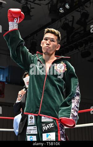 Tokyo, Japan. 18th Apr, 2019. Yuta Saito (JPN) Boxing : Yuta Saito of Japan poses before the Japanese bantamweight title bout at Korakuen Hall in Tokyo, Japan . Credit: Hiroaki Yamaguchi/AFLO/Alamy Live News - Stock Photo