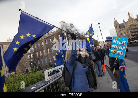 Anti-Brexit campaigners, including 'Mr Stop Brexit', Steve Bray, next to the broadcasters' camp on College Green, Westminster - Stock Photo