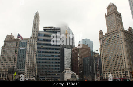 The Chicago Skyline featuring the Jewelers Building, Wyndham Grand, London House, and River Hotels and the Carbon and Carbide Building - Stock Photo