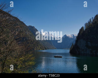 Electrically operated ferry on Lake Königssee in Berchtesgaden National Park - Stock Photo