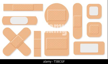 Medical plaster. Medical plasters isolated on white background, wound plasterer or bandaged patch, vector adhesive health care object - Stock Photo