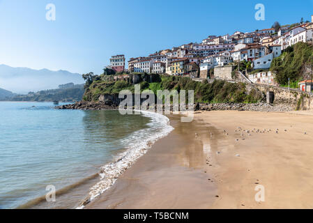 Scenic view of the beautiful fishing village of Lastres in Asturias - Stock Photo