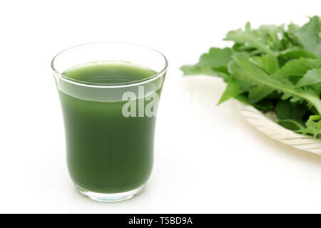 Glass of green vegetable juice, Vegetable juice called 'aojiru' in Japan - Stock Photo