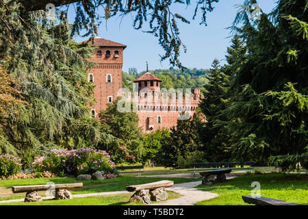 Giardino Roccioso, a botanical garden in Turin, with Rocca Medievale, a replica of a medieval castle - Stock Photo