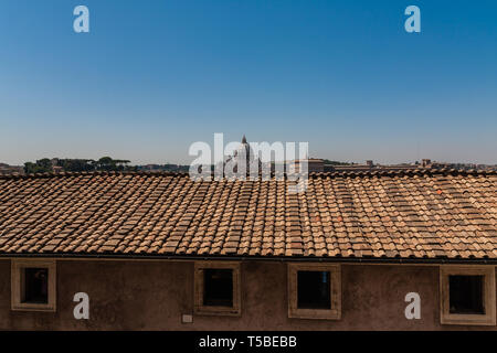 A view of the St. Peter's Basilica from the Castel Sant'Angelo - Stock Photo