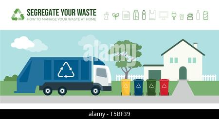 Rubbish truck collecting garbage bins in the street: separate waste collection management and recycling concept - Stock Photo