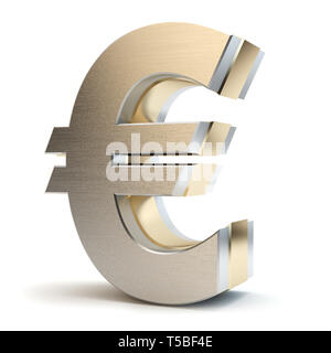Euro gold sign, 3D illustration - Stock Photo